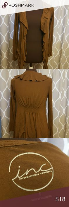 Brown sweater INC International Concepts brown ruffled cardigan, size small. INC International Concepts Sweaters Cardigans