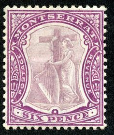"Montserrat  1908 Scott 36 6p red violet & gray violet ""Symbol of the Colony"", chalky paper"