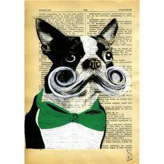 Mustachioed Boston Terrier Art