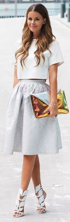 Nvrnkd White Loose Fit Crop Mesh Shoulder Tee-shirt by Stylista...Not so sure about the clutch....
