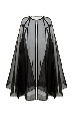 This **Alex Perry** cape features a collarless neckline, a sheer design, and a floor length.