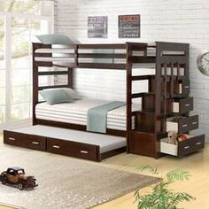Harriet Bee Jeremias Twin Over Twin Bunk Bed with Trundle Bed Frame Color: Espresso Bunk Beds With Drawers, Bunk Beds With Storage, Bunk Bed With Trundle, Bunk Beds With Stairs, Twin Bunk Beds, Kids Bunk Beds, Bed Storage, Storage Drawers, Adult Bunk Beds