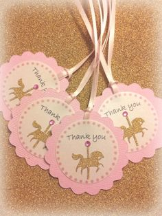 Set of 20, Carousel horse birthday party favor Thank you tags