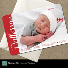 Buckeye Baby Photo Announcement for baby's by SweetHammerPress