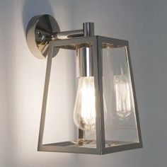 Astro (7106) Calvi Lantern Exterior Wall Light Polished Nickel