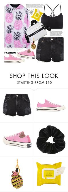 """""""Summer To Fall"""" by beebeely-look ❤ liked on Polyvore featuring Topshop, Converse, Miss Selfridge, Valentino, Sephora Collection, BackToSchool, casual, casualoutfit, sammydress and DENIMCUTOFFS"""