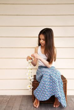 Boho kids blue printed maxi skirt - scandinavian summer - kids fashion