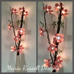 DIY ~ Lighted Branch with Paper Flowers. OPEN PLEASE: I was sort of in a crafting rut and didnt feel creative for a few days and I apologize for not posting a lot of Valentine projects. Paper Flower Decor, Diy Flowers, Paper Flowers, Light Decorations, Flower Decorations, Lighted Branches, Hall Interior, Flower Lights, Wedding Centerpieces