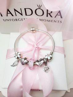 50% OFF!!! $199 Pandora Charm Bracelet White Pink. Hot Sale!!! SKU: CB01892 - PANDORA Bracelet Ideas