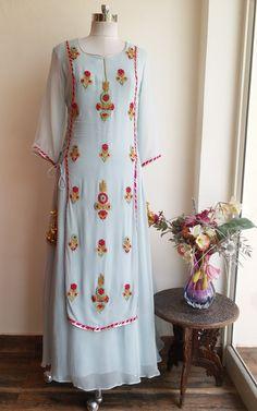 Powder Blue Embroidered Dress by Label Kanupriya Kurti Designs Party Wear, Kurta Designs, Blouse Designs, Dress Indian Style, Indian Dresses, Indian Outfits, Indian Wear, Indian Skirt, Indian Attire