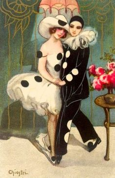 Pierrot And Pierrette by Sofia Chiostri. BonzaSheila Presents The Art Of Love Archives For November, 2008 Vintage Postcards, Vintage Images, Vintage Art, Arte Punch, Pinup, Pierrot Clown, Image Halloween, Le Clown, Image Chat