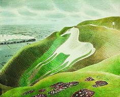 Eric Ravilious' painting of The Westbury White Horse Dulwich Picture Gallery, Horse Print, White Horses, Landscape Paintings, Landscapes, Les Oeuvres, Disney, Fine Art, Prints