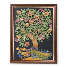 Marble dust relief panel, 'Spring Midnight' - Peacock and Flowers Indian Tree of Life Relief Wall Panel