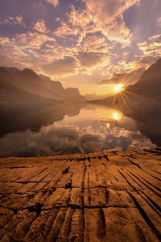 Sunset - St. Mary Lake - Glacier National Park, Montana