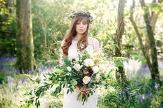 Bluebell Spring Wedding Cornwall by Andrea Kuehnis Photography Bride Hairstyles, Hair Pieces, Spring Wedding, Bridal Hair, Wedding Decorations, Groom, Wedding Inspiration, Wreaths, Wedding Dresses