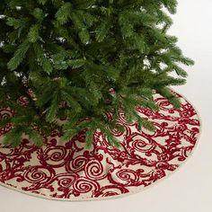 Red Flocked Cotton Tree Skirt | World Market