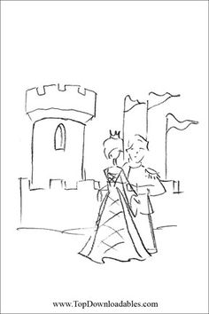 Medieval Wedding Coloring Page