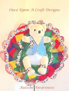 Autism Awareness Bonnet Bear by OnceUponcraftdesigns on Etsy