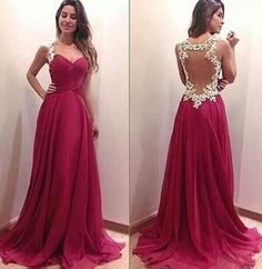 Charming Burgundy Sweetheart Floor Length Prom Dress with Applique Blackless, A Line Prom Dresses 2017,Chiffon Prom Dresses,Formal Evening Dresses