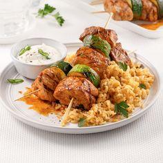 Brochettes de porc et courgettes piri-piri - Je Cuisine Piri Piri, Tandoori Chicken, Ribs, Chicken Wings, Barbecue, Risotto, Curry, Good Food, Health Fitness