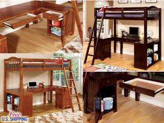 Wooden Loft Bed Twin Workstation Desk Bunk Cabinet Bookcase Drawers Bunkbed Wood