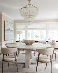 modern farmhouse dining room design, neutral dining room, modern dining room table with dining room chairs and chandelier with white walls and neutral rug bleached oak table and velvet chairs and bead chandelier Dining Room Sets, Dining Room Design, Dining Room Furniture, Dining Room Chairs, Dining Area, Office Chairs, Cream Dining Room, Corner Furniture, Furniture Layout