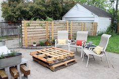 Dress up chain link fence with this horizontal fence. (You attach your planks to the original fence!)  | Our Brick Home