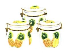 PINEAPPLE AIRTIGHT 3 Canisters Set 3-D *NEW!!* KMC/KK-Pin...