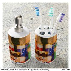 Army of Christmas Nutcrackers Soap Dispenser & Toothbrush Holder