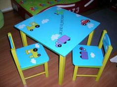 Mesas para niños 2 Paint Kids Table, Kids Table And Chairs, Kid Table, Sticks Furniture, Kids Furniture, Vintage Furniture, Mosaic Furniture, Hand Painted Furniture, Games For Kids