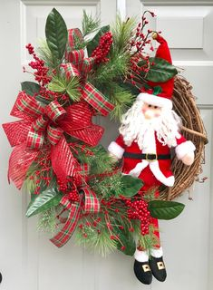 Santa Floral Christmas Wreath, Christmas Floral Decor, Christmas Gift, Holly Berry Wreath, Holiday S Outdoor Christmas Tree Decorations, Christmas Door Wreaths, Christmas Lanterns, Mini Christmas Tree, Christmas Porch, Holiday Wreaths, Christmas Ornaments, Holiday Decor, 242