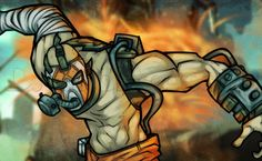 I just had to go ahead and make this lesson on another Borderlands 2 character that is wicked cool in appearance and has a title of being crazy. Krieg Borderlands, Borderlands Series, Video Game Drawings, Art Drawings, Videogames, Mythological Creatures, Comic Styles, Drawing Guide, Drawing Ideas