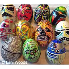 Here are some of the Star Wars blown eggs I decorated in 2014. Made with Sharpie pens and paint pens. You can find both at most craft or art supply stores. If you're not familiar with blown Easter eggs, there are many tutorials here on Pinterest. This year I will attempt to create a broken Death Star egg. Which is your favorite Star Wars character?