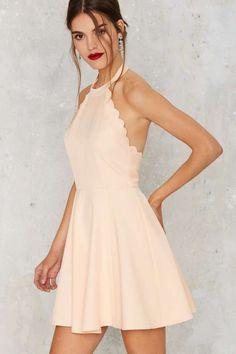 Full Scallop Attack Flare Dress - Peach - Clothes | Valentine's Day | Valentine's Day | Day | Fit-n-Flare
