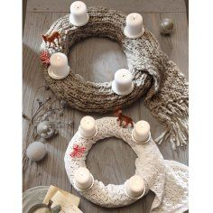 scarf advent wreath -- could use skewers to secure candles to wreath.