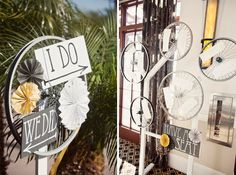 """I pinned this for the cute """"I DO"""" and """"WE DID"""" signs, but this is a unique theme as well and quite a fun way to display guest seating.  From a Yellow Bicycle Themed California Wedding via Every Last Detail.  Photo by Dana Grant Photography"""