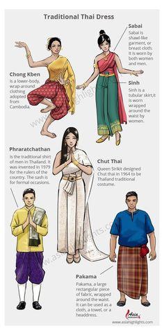 Traditional Thai Clothing, Traditional Fashion, Traditional Dresses, Myanmar Traditional Dress, Thai Fashion, Oriental Fashion, Thailand Fashion, Thai Dress, Fashion History