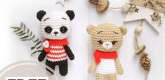 Enjoy the free bear and panda amigurumi pattern! With this crochet pattern you will get a little bear about 11 cm high and a plush bear 20 cm high. Crochet Teddy Bear Pattern, Crochet Amigurumi Free Patterns, Plush Pattern, Crochet Animal Patterns, Crochet Bear, Stuffed Animal Patterns, Marley Crochet, Crochet Panda, Bowtie Pattern