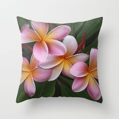 "Wailua Sweet Love by Sharon Mau  THROW PILLOW / COVER (20"" X 20"") WITH PILLOW INSERT $35.00 http://society6.com/SharonMau/Wailua-Sweet-Love_Pillow#18=131  Wailua Sweet Love Beautiful Pink Plumeria From my collection: Tropical Flowers of Hawaii Copyright © 2013 Sharon Mau - All Rights Reserved"