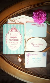 Pink and Teal Rococo Wedding Invitation