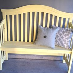 Crib turned into a bench...great way to keep your baby's crib and it still be useful!