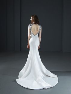160020: Long mermaid dress with beaded neckline drop on the back