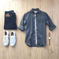 oxford shirt: t-shirt: denim: shoes: watch: wallet: Mode Outfits, Casual Outfits, Men Casual, Fashion Outfits, Urbane Mode, Daily Fashion, Mens Fashion, Order T Shirts, White Jeans Outfit