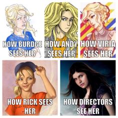 I don't know who to choose cuz I love burdge and andy and viria's art. Probably Viria tho, if I had to. Rick's one is alright tho bc it was in the first book when she was young. I won't even touch Alexandra Daddario.//// love this description too much. Alexandra Daddario seems kinda perfect for Annabeth in a way. Please no haters.