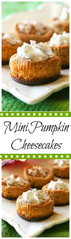 Mini Pumpkin Cheesecakes - perfectly portioned cheesecakes with a gingersnap cookie crust. I love this fall dessert.