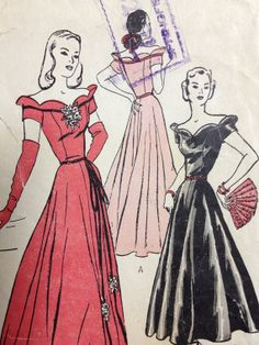 Vintage Pattern  Off the Shoulder Gown  40s by dizzbrain on Etsy, $24.00