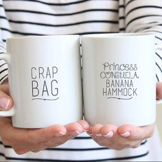 Friends tv show Cermic Coffee Quotes Mug- Couples Gift Idea - Crap Bag & Princess Consuela Banana Hammock by FranklyNoted on Etsy https://www.etsy.com/listing/260224658/friends-tv-show-cermic-coffee-quotes-mug