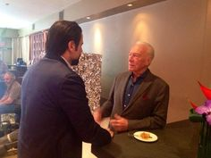 John Travolta and Christopher Plummer chat over breakfast between media interviews at our Liberty Lounge