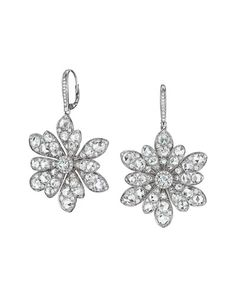 P4832 Maria Canale for Forevermark 18k White Gold Round and Rose-Cut Diamond Flower Drop Earrings