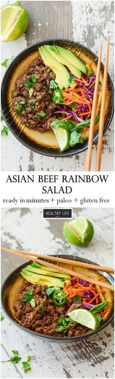 This Asian Beef Rainbow Salad is ready to eat in minutes, is loaded with tons of raw good for you vegetables, and perfectly seasoned and cooked ground beef.  You are eating the rainbow with this dish, and it is paleo, dairy free, and gluten free.  - A Healthy Life For Me